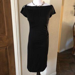 Diane vonFurstenberg LBD Wool Dress Black Rouch 6